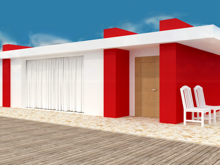 patio furniture: Modern white and red house. Exterior. In front of blue sky. Stock Photo