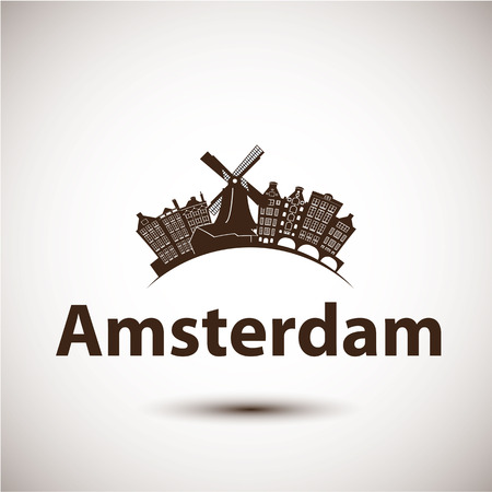 アムステルダム、オランダのベクトル シルエット。都市のスカイライン