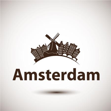 amsterdam canal: Vector silhouette of Amsterdam, Netherlands. City skyline Illustration