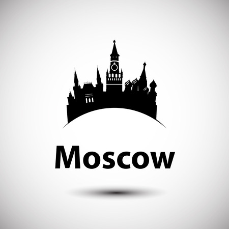 moscow russia: Vector silhouette of Moscow, Russia. City skyline