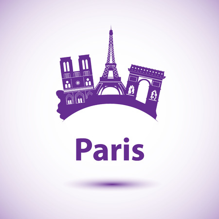Vector silhouette of Paris, France. City skyline