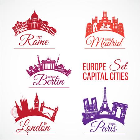 europa: Vector conjunto de las capitales más grande de Europa horizontes con palabras de letras Vectores