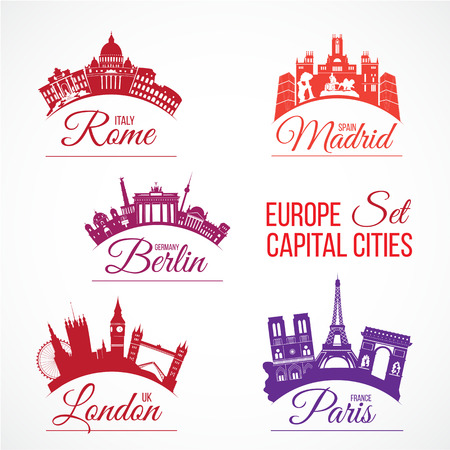 landmarks: Vector set of Biggest Europe capital cities skylines with lettering words