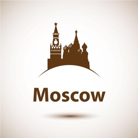 赤の広場、モスクワ、ロシアのベクトル シルエット。都市のスカイライン