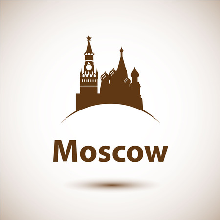 red square moscow: Vector silhouette of Red square, Moscow, Russia. City skyline