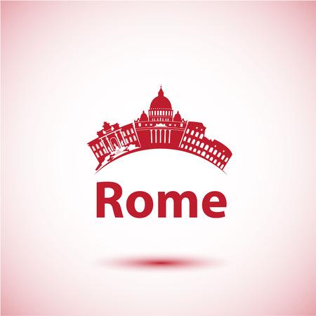 ローマのベクトル シルエット。街のスカイライン。都市のスカイライン