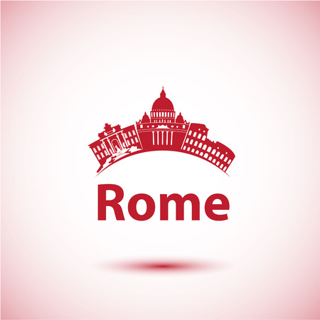 Vector silhouette of Rome. City skyline. City skyline 向量圖像