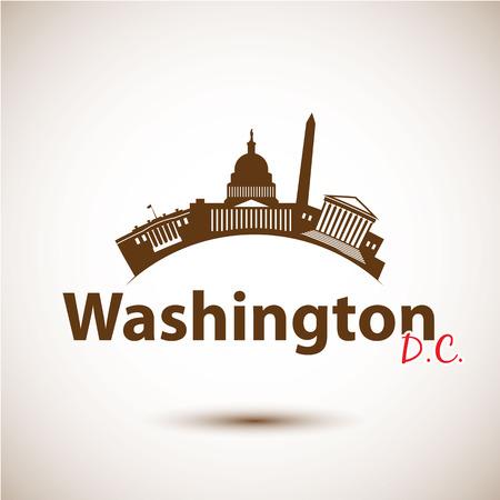 アメリカ、ワシントン DC のベクトル シルエット。都市のスカイライン