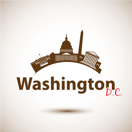 Vector silhouette of Washington DC, USA. City skyline
