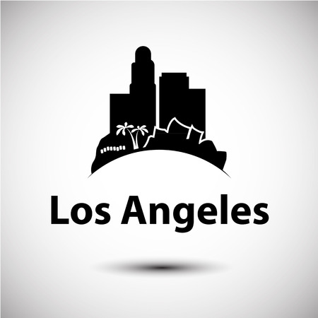 アメリカ ・ ロサンゼルスのベクトル シルエット。都市のスカイライン