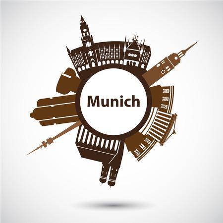 Vector silhouette of Munich. Circular shape. City skyline  イラスト・ベクター素材