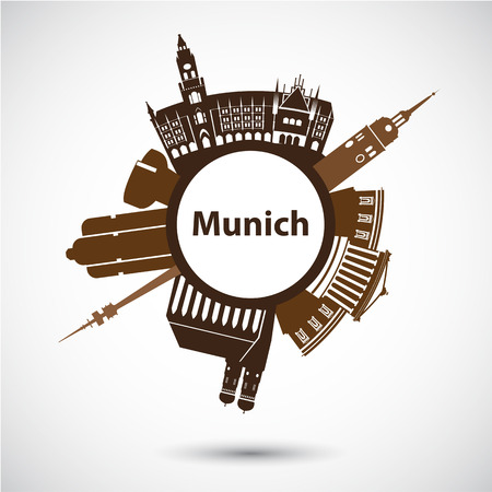 Vector silhouette of Munich. Circular shape. City skyline Stock Illustratie