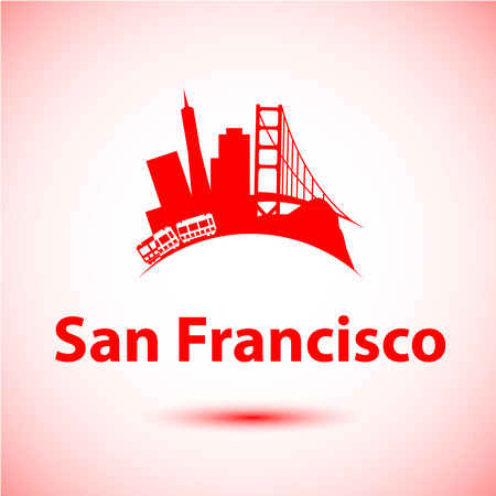 francisco: Vector silhouette of San Francisco, USA. City skyline