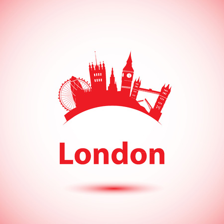 ロンドン、英国のベクトル シルエット。都市のスカイライン  イラスト・ベクター素材