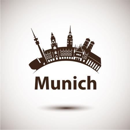 ミュンヘン, ドイツのベクトル シルエット。都市のスカイライン