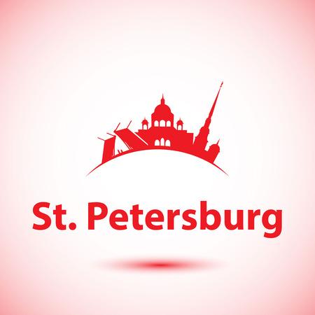 st petersburg: Vector silhouette of St. Petersburg. City skyline