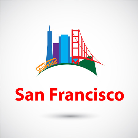 golden globe: Colorized vector silhouette of San Francisco, USA. City skyline