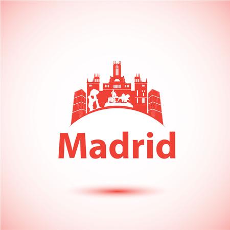 マドリード、スペインのベクトル シルエット。都市のスカイライン