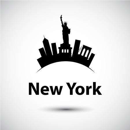 ニューヨーク、アメリカ合衆国のベクトル シルエット。都市のスカイライン