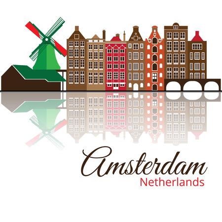アムステルダムの色付きのベクトル シルエット。  イラスト・ベクター素材