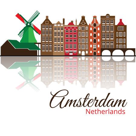 amsterdam canal: Colorized vector silhouette of Amsterdam.