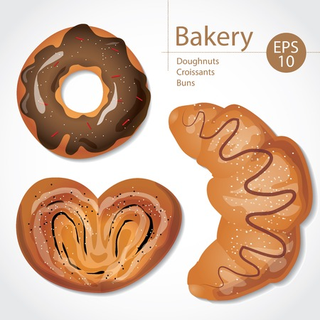 buns: Set of delicious buns, croissants and donuts on white background. Menu concept.