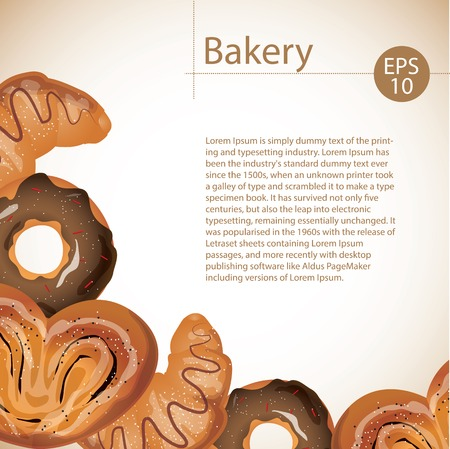 Delicious buns, croissants and donuts on white background. Bakerys menu concept.