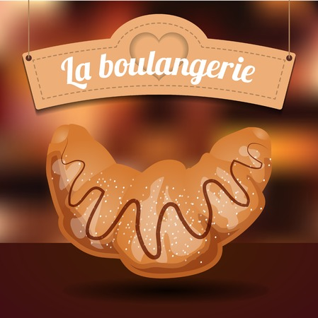 shortcake: Delicious croissant with chocolate and sugar powder and lovely signboard on blurred background