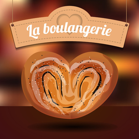corn poppy: Delicious bun with poppy seeds in the shape of a heart and lovely signboard on blurred background Illustration