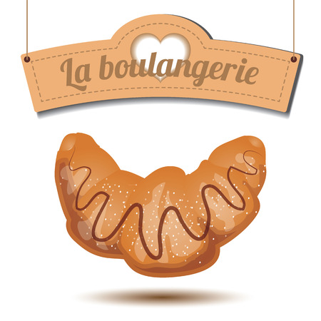 shortcake: Delicious croissant with chocolate and sugar powder and lovely signboard on white background Illustration