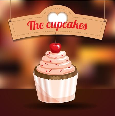 gelatin: Delicious cupcake with dessert cherry and sugar powder on blurred background