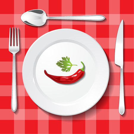 appointments: Table appointments on red tablecloth. Hot chili pepper and parsley on white plate