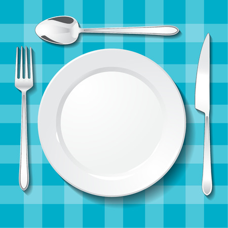 Table appointments. Empty plate on blue tablecloth 일러스트