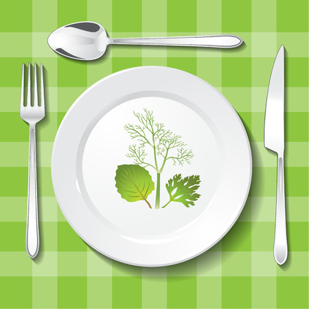 appointments: Vegetarian table appointments on green tablecloth. Parsley, oregano and dill on white plate