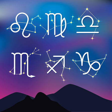 zodiac constellations: Astrological signs. Night mountain landscape with Zodiac constellations as background. Illustration