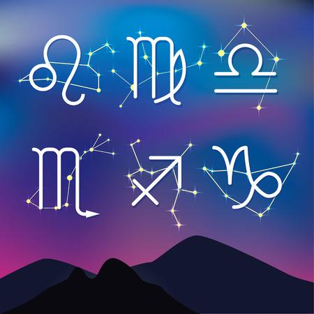 constelaciones: Los signos astrol�gicos. Noche paisaje de monta�a con las constelaciones del zodiaco como fondo.