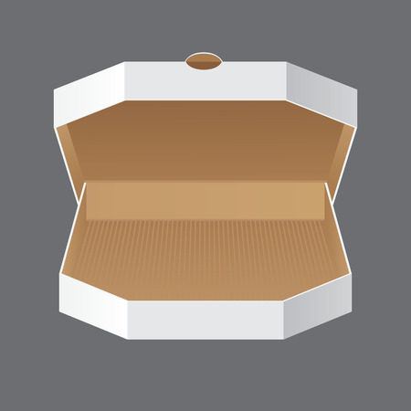 Product Packing Vector. Open White Blank Carton Pizza Box