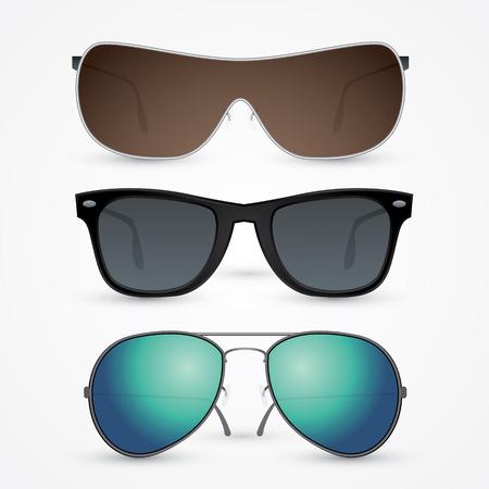 anteojos de sol: Vector conjunto de gafas de sol aisladas sobre fondo blanco