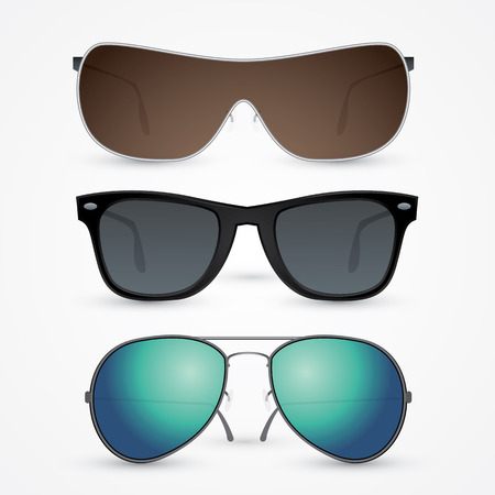 sunglasses reflection: Vector set of sunglasses isolated on white background