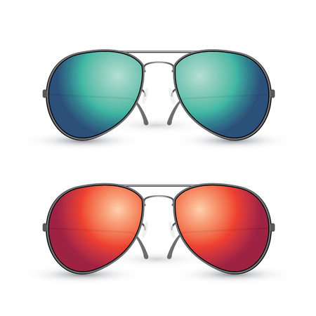 sunglasses reflection: Vector set of multicolored Aviator sunglasses isolated on white background Illustration