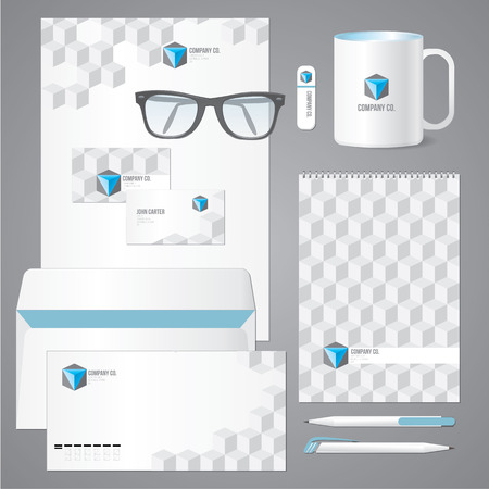 dl: Architectural corporate identity template with 3d cube pattern. Vector company style for brandbook and guideline.