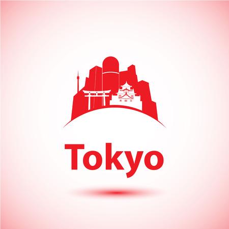Vector silhouet van de moderne Tokio, Japan. Skyline van de stad