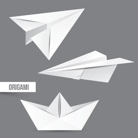 technic: Origami vector set.  White paper design. Different technic figures Illustration