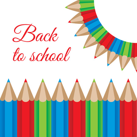 illustration of a color pencils frame. Back to school concept Vector