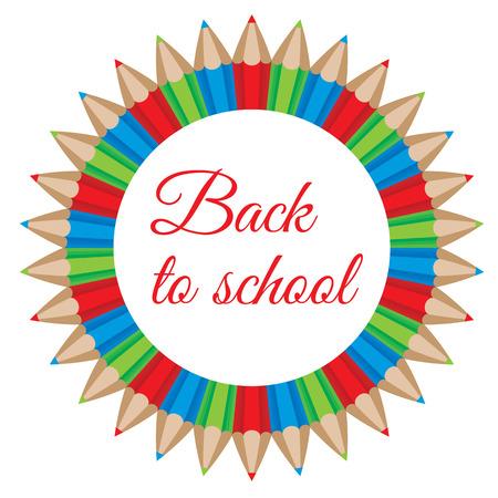 illustration of a color pencils circular frame. Back to school concept Vector