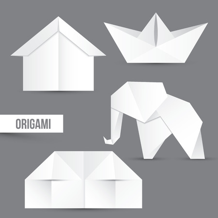 origami: Origami vector set, white papper on grey background Illustration