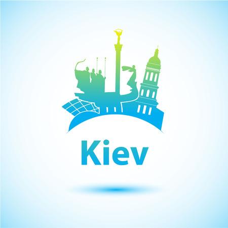 kyiv: Vector silhouette of Kiev. City skyline