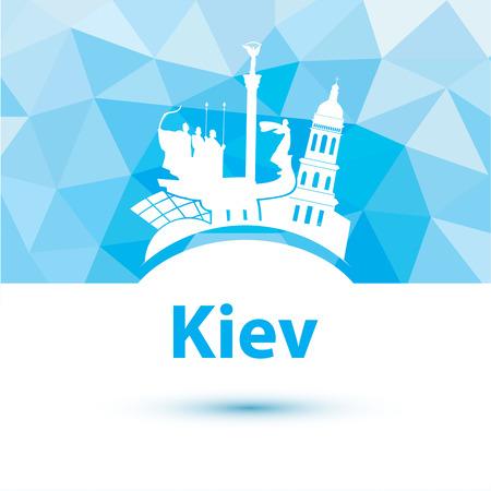 Vector silhouette of Kiev. City skyline on polygonal background Vector