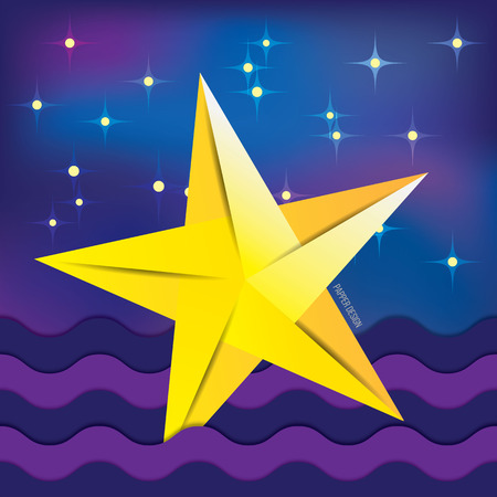 polyhedral: Yellow paper origami fallen star on background with night sky. cartoon cosmic landscape Illustration