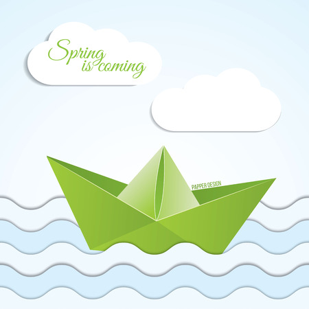 Vector paper origami boat icon on spring background with clouds and waves . Paper design Vector